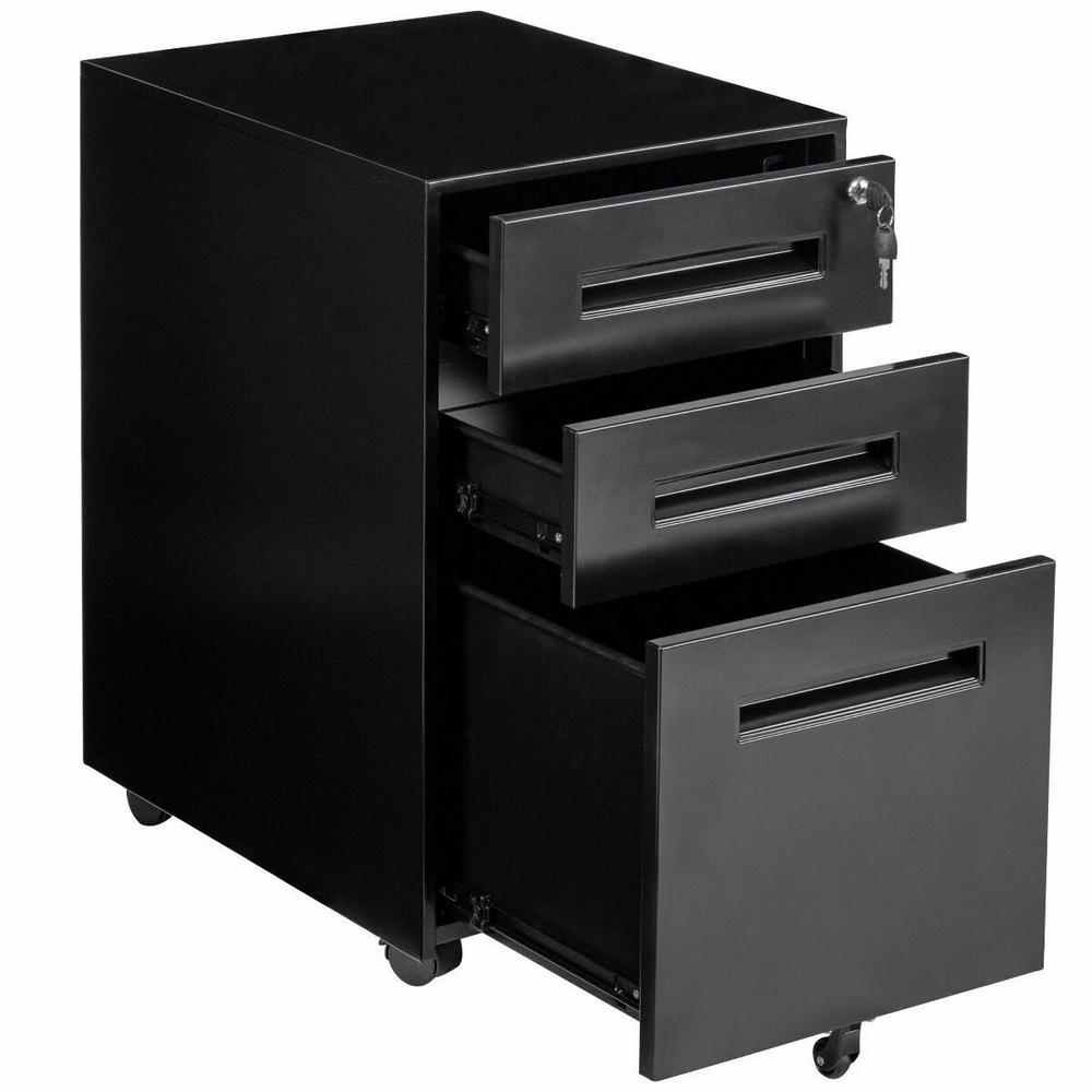 Costway Rolling A4 File Black Cabinet Sliding Drawer Metal Office
