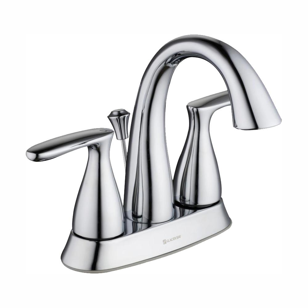 GLACIER BAY Meansville 4 in. Centerset 2-Handle High-Arc Bathroom Faucet in Chrome