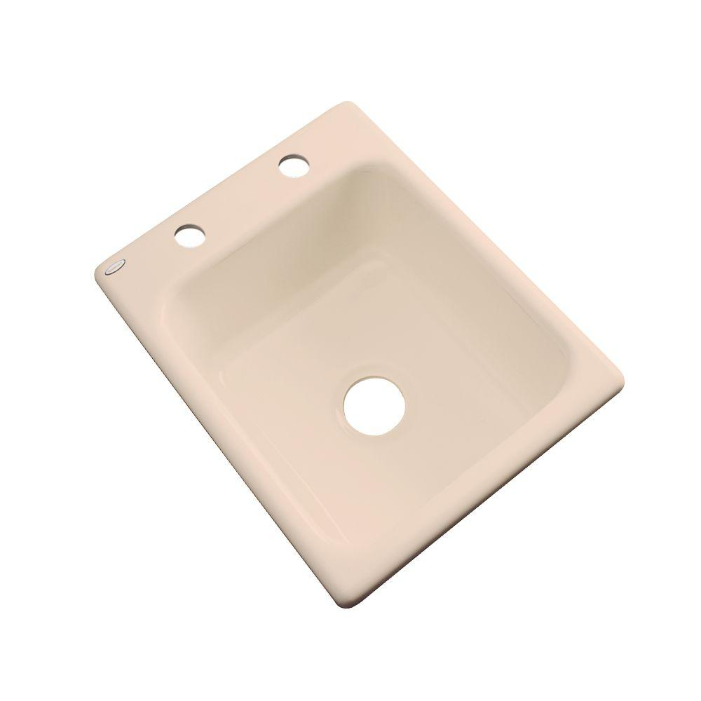 Thermocast Crisfield Drop-In Acrylic 17 in. 2-Hole Single Basin Prep Sink in Peach Bisque