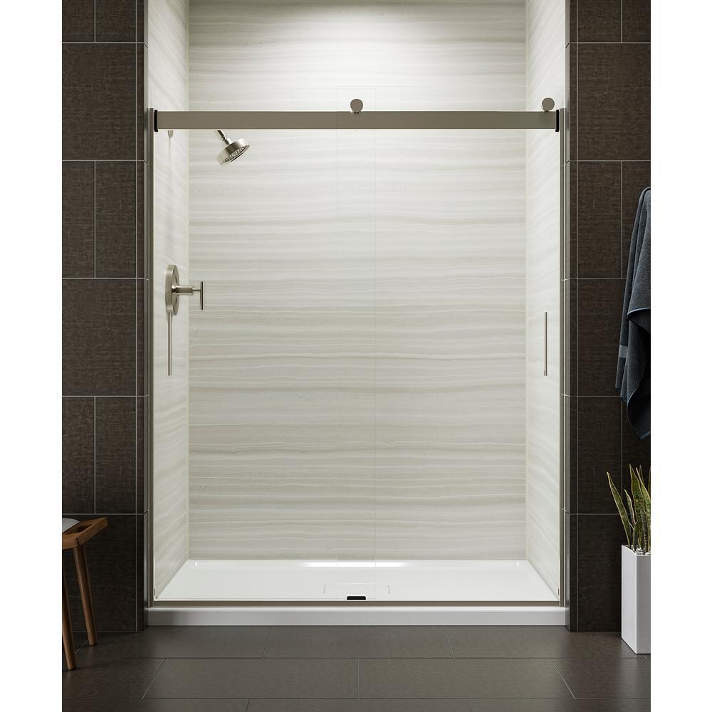 Levity 59 in. x 74 in. Semi-Frameless Sliding Shower Door in Nickel with Handle