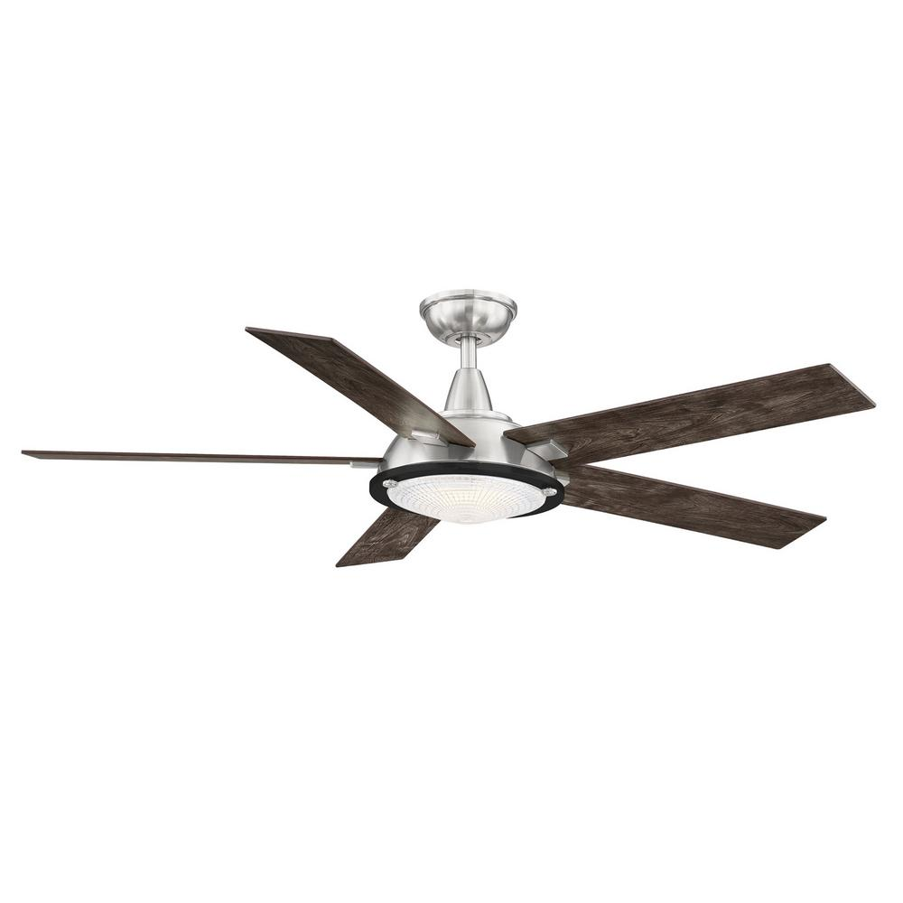Home Decorators Collection Merienda 56 in. LED Brushed Nickel Ceiling Fan with Light