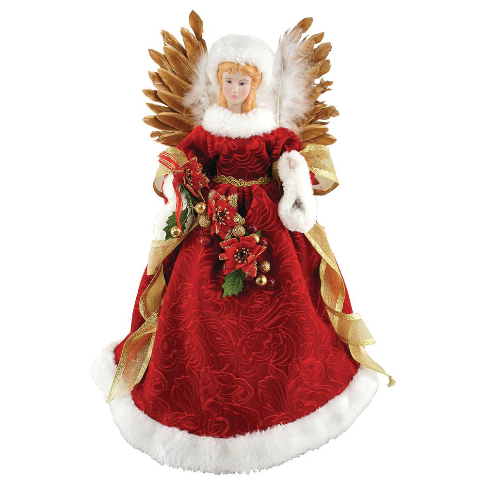 santas workshop 16 in majestic angel tree topper with feathered wings