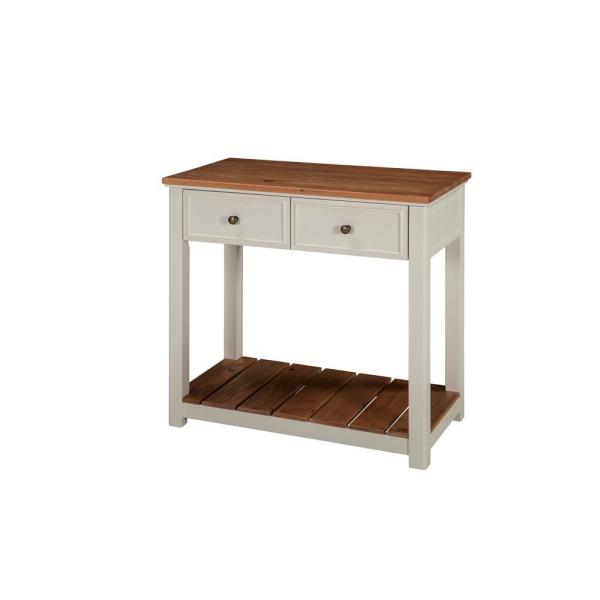 Alaterre Furniture Savannah Ivory with Natural Wood Top 30 in. Wide 2-Drawer Console Table