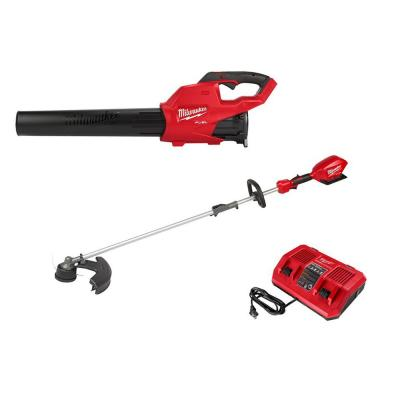 M18 FUEL 18-Volt Lithium-Ion Brushless Cordless Blower, QUIK-LOK String Trimmer and Rapid Charger Combo Kit (3-Tool)