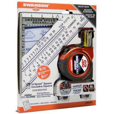 Speed Square and Proscribe 25 ft. Tape Measure Bundle