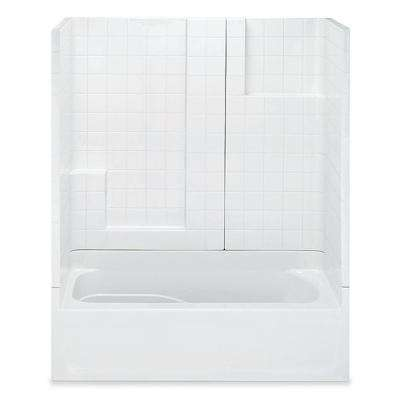 Remodeline Smooth Tile 60 in. x 30 in. x 72 in. 3-Piece Bath and Shower Kit with Left Drain in White