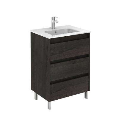 Sansa 24 in. W x 18 in. D Bath Vanity in Essence Wenge with Ceramic Vanity Top in White