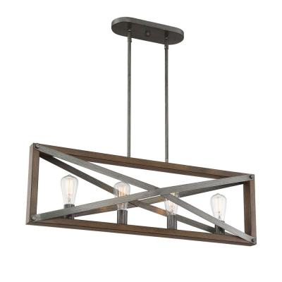4-Light Brushed Iron Linear Chandelier with Wood Grain Accents