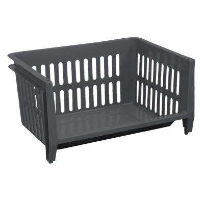 11.5 Gal. Jumbo Storage Stacking Basket in Graphite