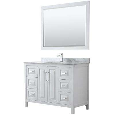 Daria 48 in. Single Bathroom Vanity in White with Marble Vanity Top in Carrara White and 46 in. Mirror