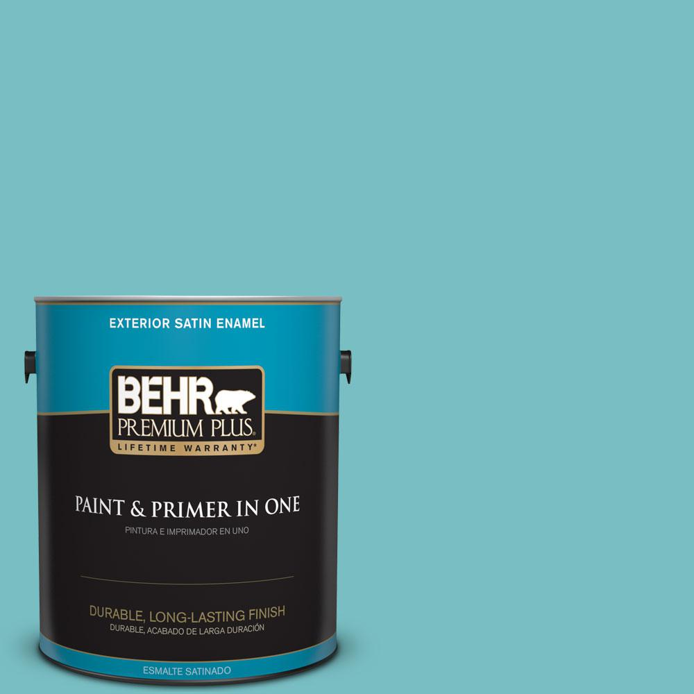 1-gal. #M460-4 Pure Turquoise Satin Enamel Exterior Paint