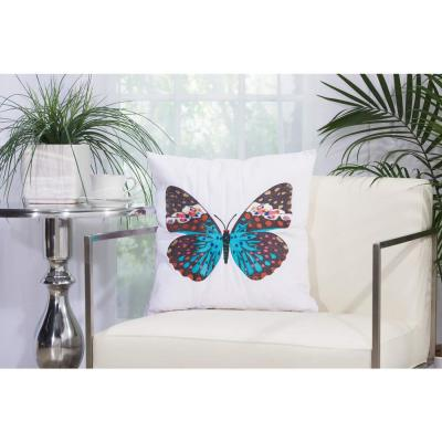 Turquoise Butterfly White Polyester Standard Throw Pillow