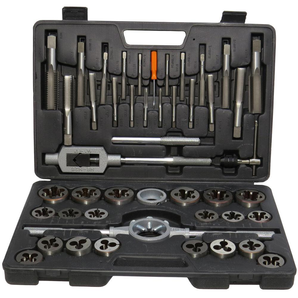 Drill America 6 Mm 24 Mm Carbon Steel Nc And Nf Tap And Die Set 45 Piece Dwt45pc Mm Set The Home Depot