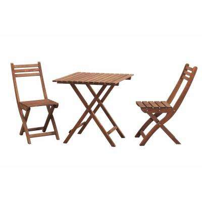 3-Piece Wood Square Outdoor Bistro Set without Cushion