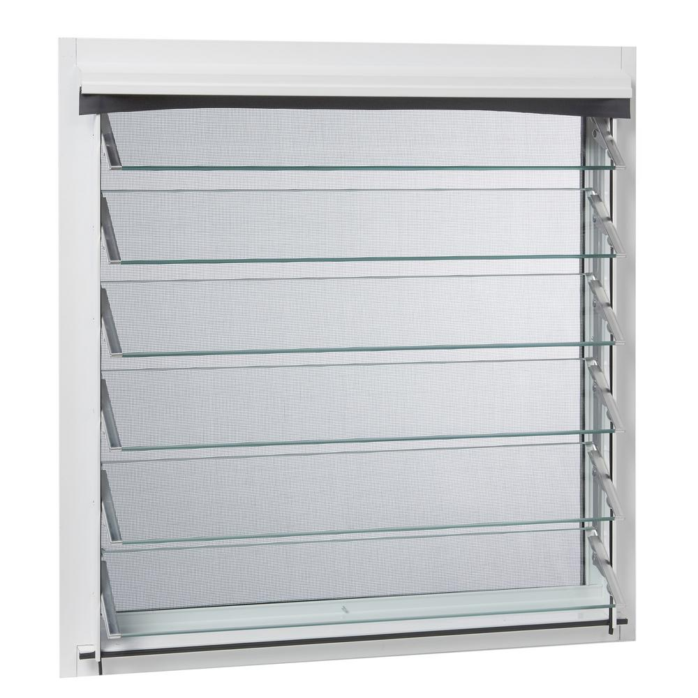 TAFCO WINDOWS 29 in. x 29.29 in. Jalousie Utility Louver Aluminum Screen  Window - White