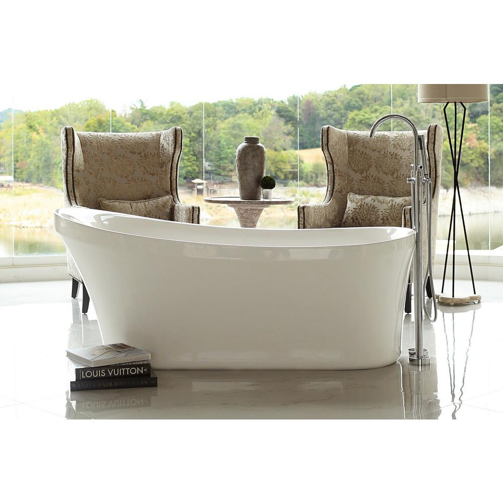 Pinnacle Calm 5.6 ft. Acrylic Slipper Flatbottom Non-Whirlpool ...