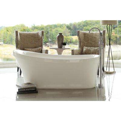 Calm 5.6 ft. Acrylic Slipper Flatbottom Non-Whirlpool Bathtub in White