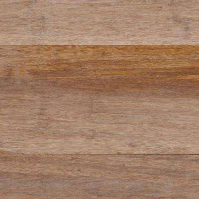 Take Home Sample - Wire Brushed Strand Woven Sand Solid Bamboo Flooring - 5 in. x 7 in.
