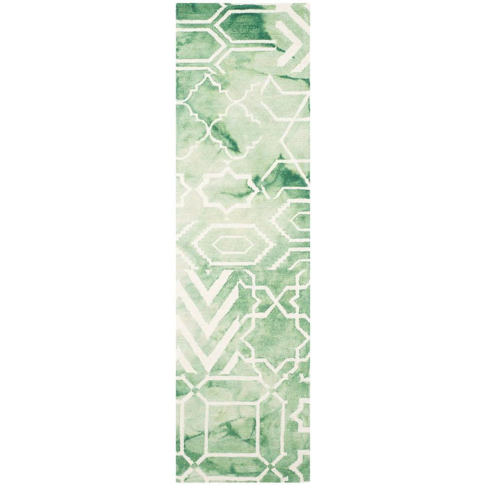 Dip Dye Green/Ivory 2 ft. x 8 ft. Runner Rug