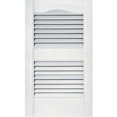 15 in. x 25 in. Louvered Vinyl Exterior Shutters Pair in #001 White