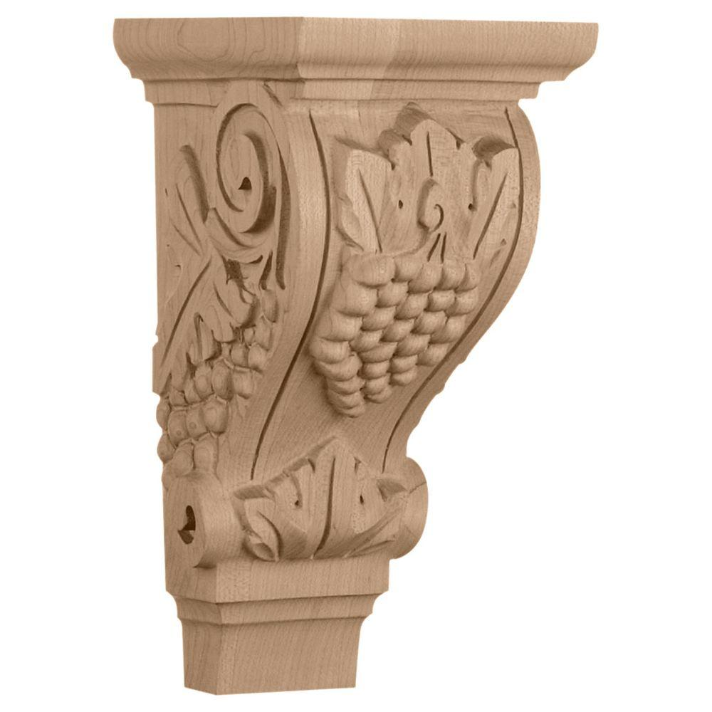 Ekena Millwork 4-3/4 in. x 5 in. x 9-1/2 in. Cherry Medium Grape Corbel