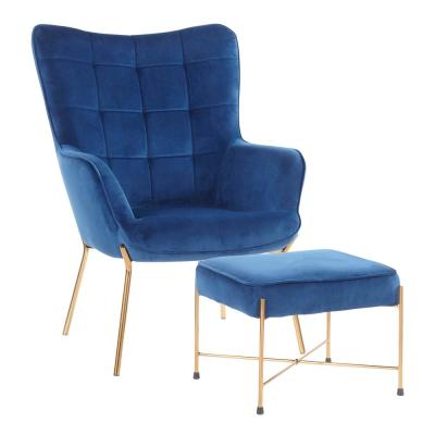 Izzy Gold Lounge Chair with Ottoman in Blue Velvet