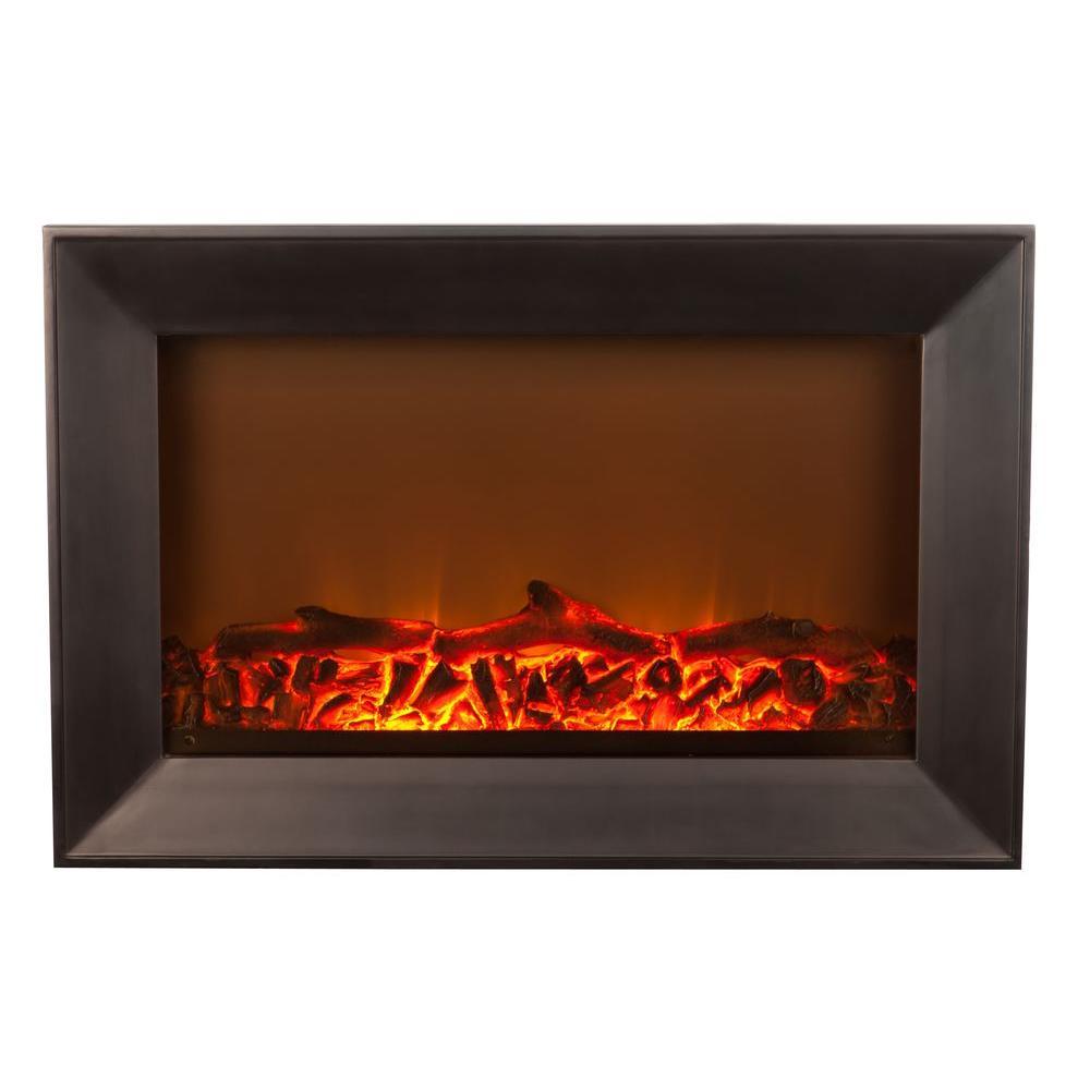 Fire Sense 1,400-Watt Wall-Mounted Wood Look Electric Fireplace in Black