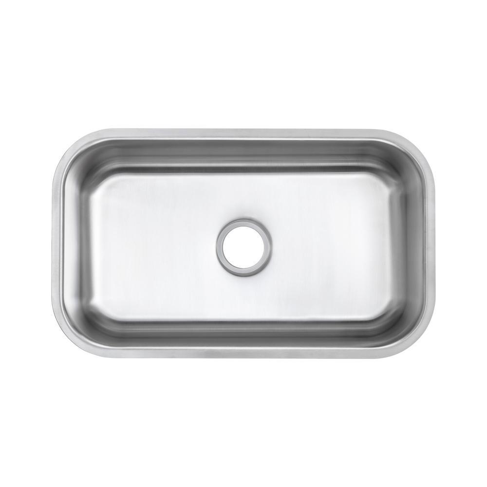 Undermount 16-Gauge Stainless Steel 30 in. 0-Hole Single Bowl Kitchen Sink