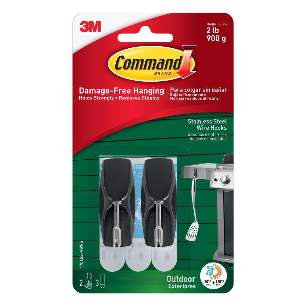 Medium Outdoor Stainless Steel Wire Hooks with Foam Strips (2-Hooks) (3-Foam Strips)
