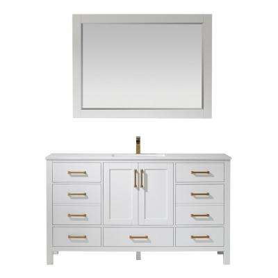 Shannon 60 in. Bath Vanity in White with Manufactured Stone Vanity Top in White with White Basin and Mirror