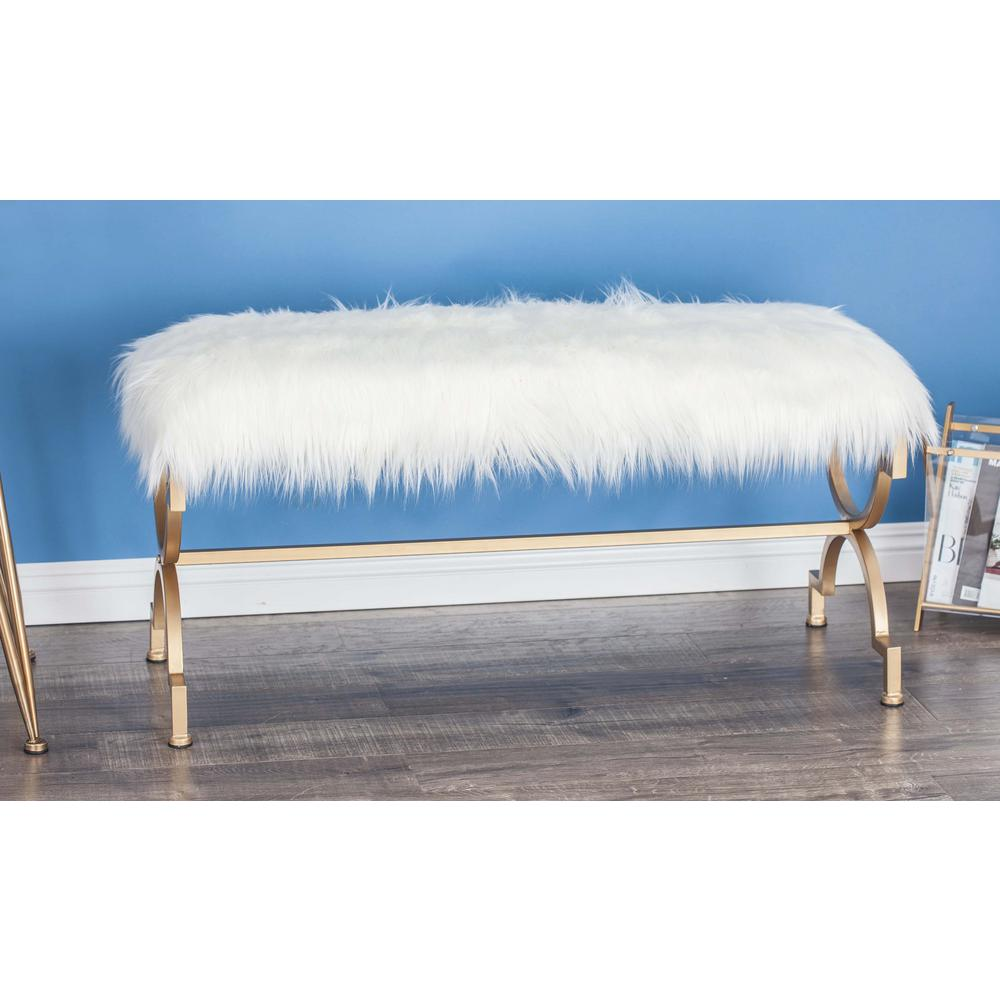 null 42 in. x 20 in. Metal and Wood White Faux Fur Bench