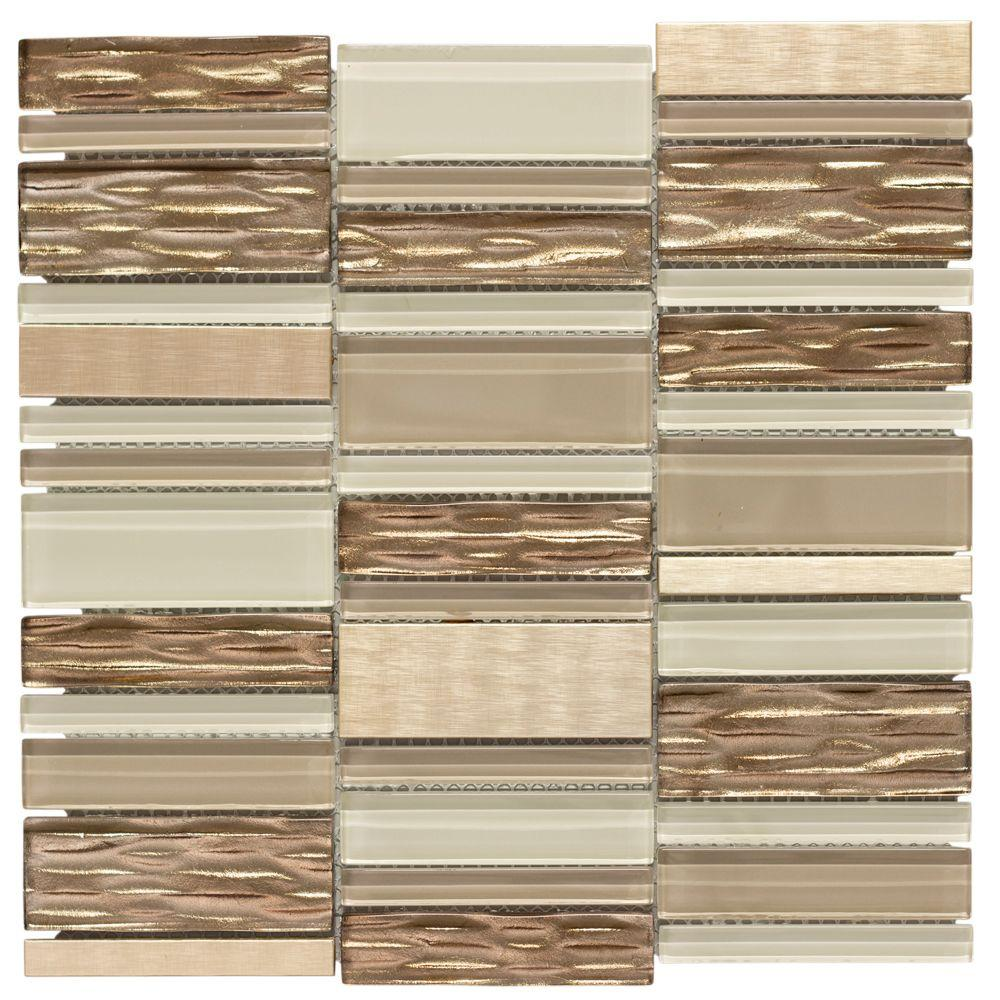 Jeffrey Court Gold Bars 11.75 in. x 12 in. x 8 mm Glass/Metal Mosaic Wall Tile