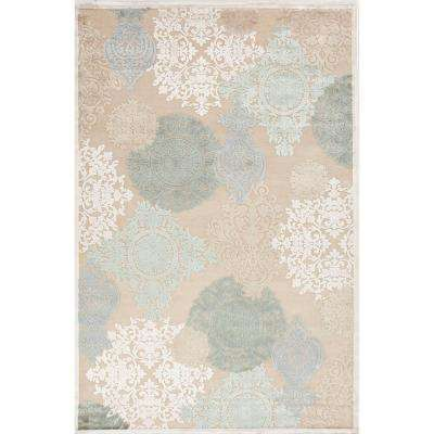 Machine Made Warm Sand 8 ft. x 8 ft. Damask Square Area Rug