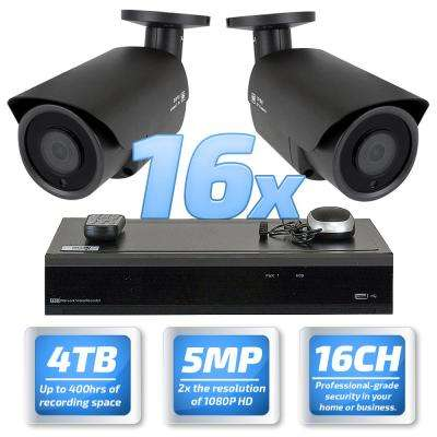 32-Channel 5MP DVR 4TB HDD Surveillance System with 16 Wired IP Cameras Vandal Proof Bullet PoE 3.6 mm 65 ft. IR