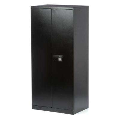 78 in. H x 36 in.W x 24 in. D 5-Shelf Steel Quick Assembly Keyless Electronic Coded Storage Cabinet in Black