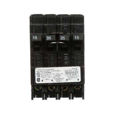 35 Amp Double-Pole and (2) 15 Amp Single-Pole Type QT Triplex Circuit Breaker