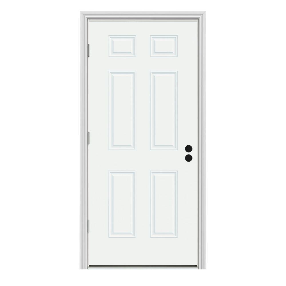 Jeld wen 32 in x 80 in 6 panel white painted steel for Jeld wen front entry doors
