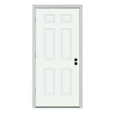 32 in. x 80 in. 6-Panel White Painted Steel Prehung Right-Hand Outswing Front Door w/Brickmould