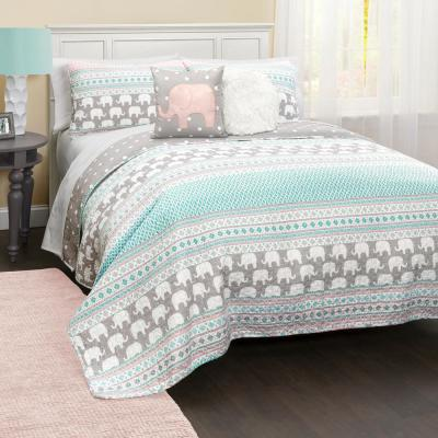 Elephant Stripe Quilt Turquoise/Pink 5-Piece Full/Queen Set