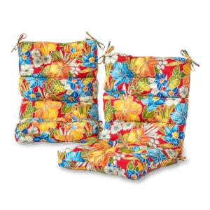 Aloha Red Outdoor High Back Dining Chair Cushion (2-Pack)