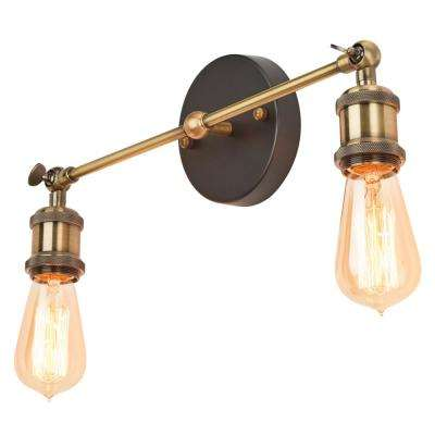 2-Light Antique Bronze Adjustable Sconce with Exposed Bulbs