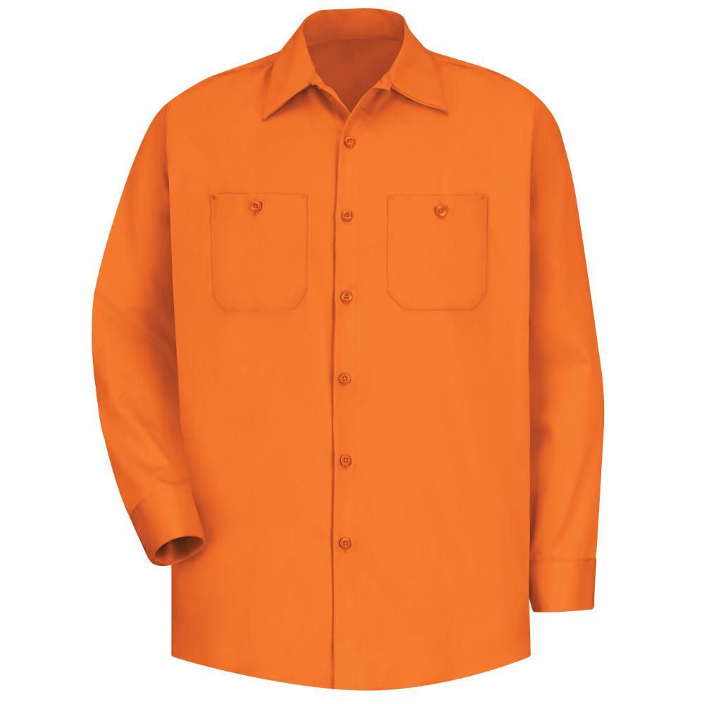 Men's Size L (Tall) Orange Wrinkle-Resistant Cotton Work Shirt
