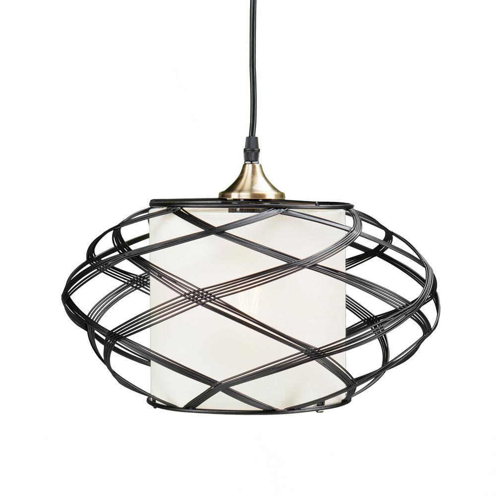 Sultano 1-Light Matte Black Wire Cage Pendant Lamp-HD88210 - The ...