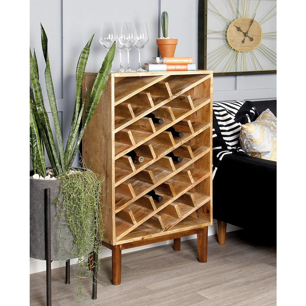 40 in. Wooden Wine Rack in Stained Light Brown and Dark