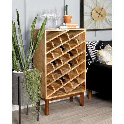 40 in. Wooden Wine Rack in Stained Light Brown and Dark Brown
