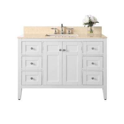Maili 48 in. W x 22 in. D Maili Bath Vanity in White with Marble Vanity Top in Galala Beige with White Basin