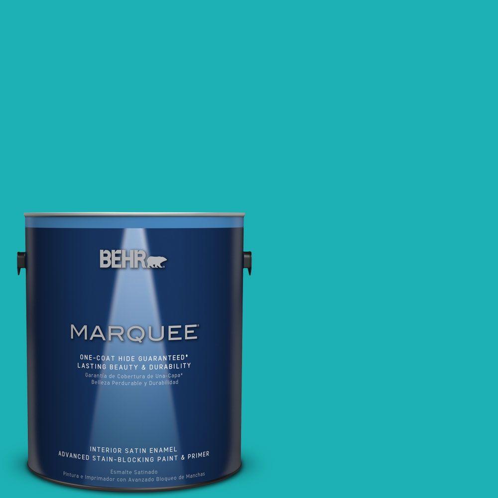 1 gal. #HDC-SP16-06 Larkspur Blue Satin Enamel Interior Paint