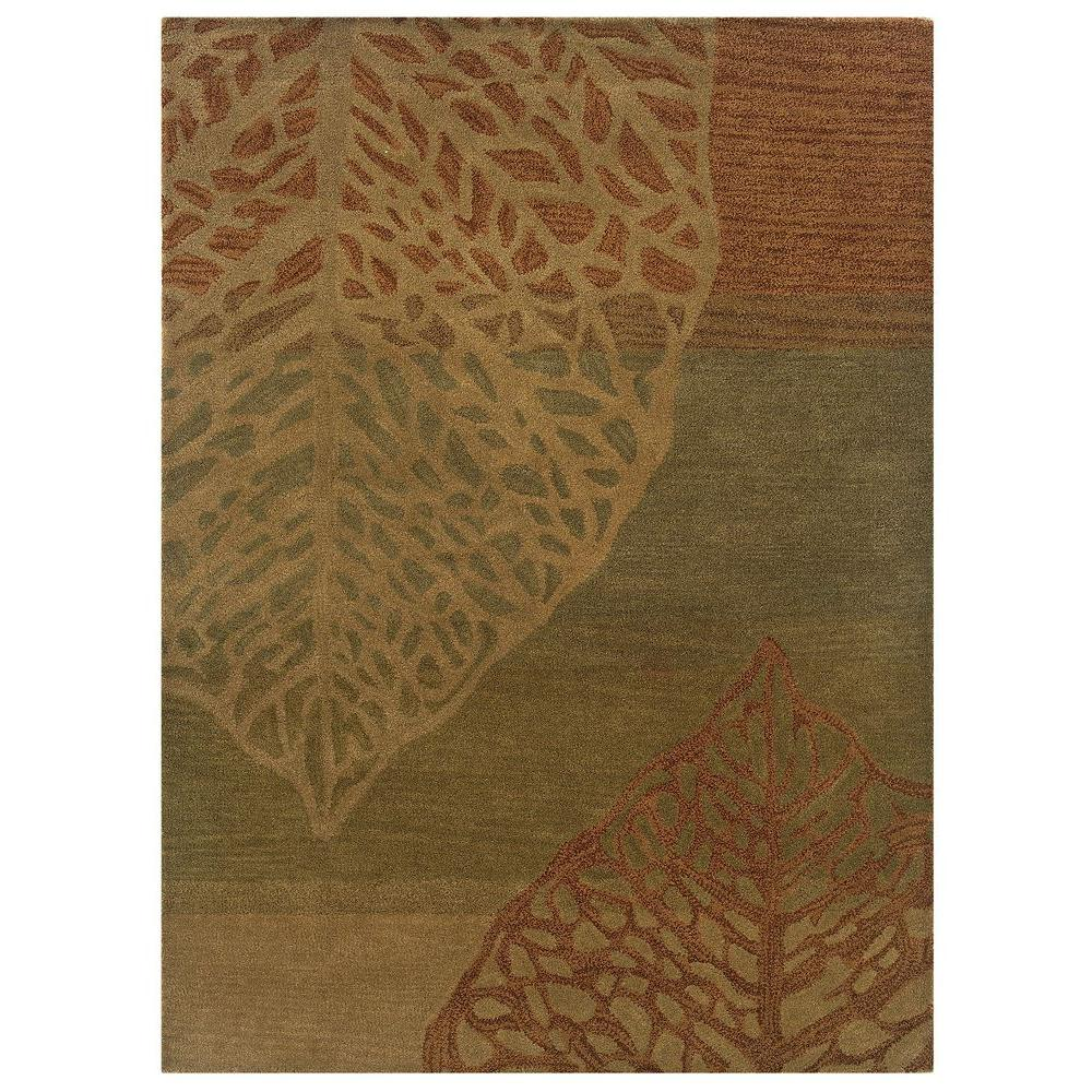 Linon Home Decor Florence Collection Olive and Beige 5 ft. x 7 ft. Indoor Area Rug