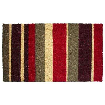 Multi Stripe 18 in. x 30 in. Vinyl Back Coco Door Mat