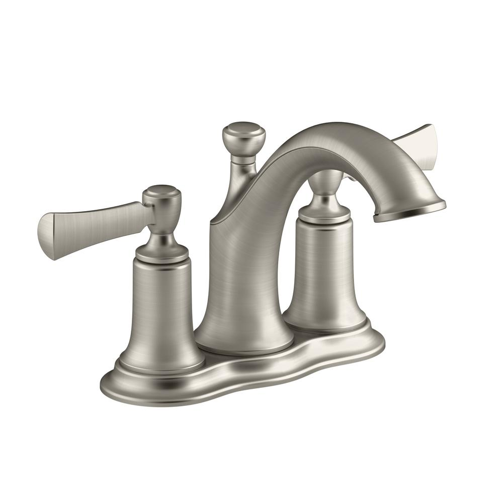 Kohler Elliston 4 In Centerset 2 Handle Bathroom Faucet Brushed Nickel